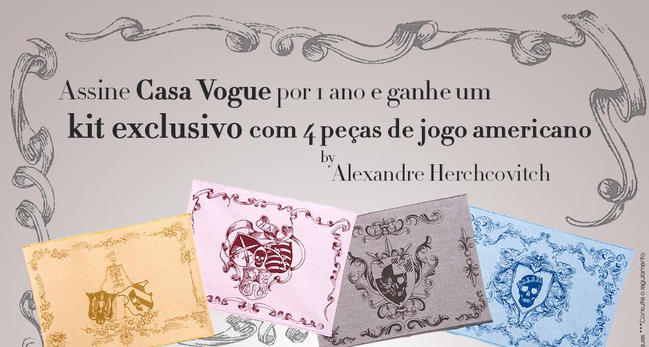 Assine Casa Vogue por 1 ano, leve + 6 meses de assinatura + kit com 4 peças de jogo americano by Alexandre Herchcovitch