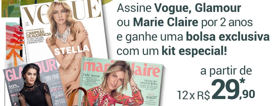 Assine Vogue, Glamour ou Marie Claire por 2 anos e ganhe uma bolsa exclusiva com um kit especial! A PARTIR DE 12X R$ 29,90