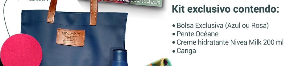 Kit exclusivo contendo:    Bolsa Exclusiva (Azul ou Rosa)    Pente Océane    Creme hidratante Nivea Milk 200 ml    Canga