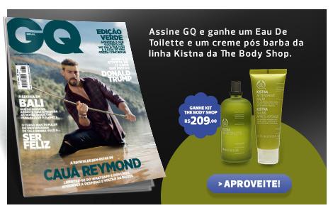Assine GQ e ganhe um perfume e um creme pós barba da The Body Shop Linha Kistna